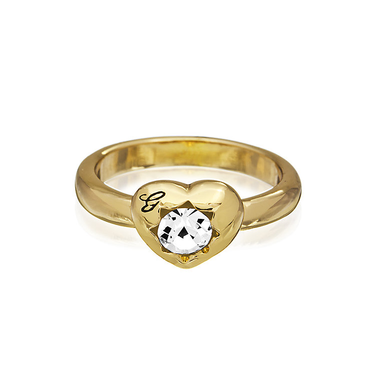 Guess Yellow Gold Plated Mini Heart Crystal Ring Medium - Product number 2337444