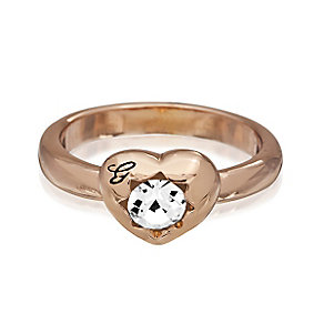 Guess Rose Gold Plated Mini Heart Crystal Ring Small - Product number 2337452
