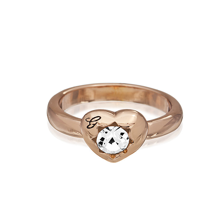 Guess Rose Gold Plated Mini Heart Crystal Ring Medium - Product number 2337460