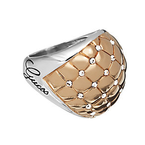 Guess Rose Gold Plated Crystal Set Quilted Ring Small - Product number 2337479