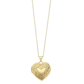 9ct Yellow Gold Engraved Heart Locket - Product number 2337495