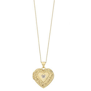 9ct Yellow Gold Diamond Set Swirl Heart Locket - Product number 2337576