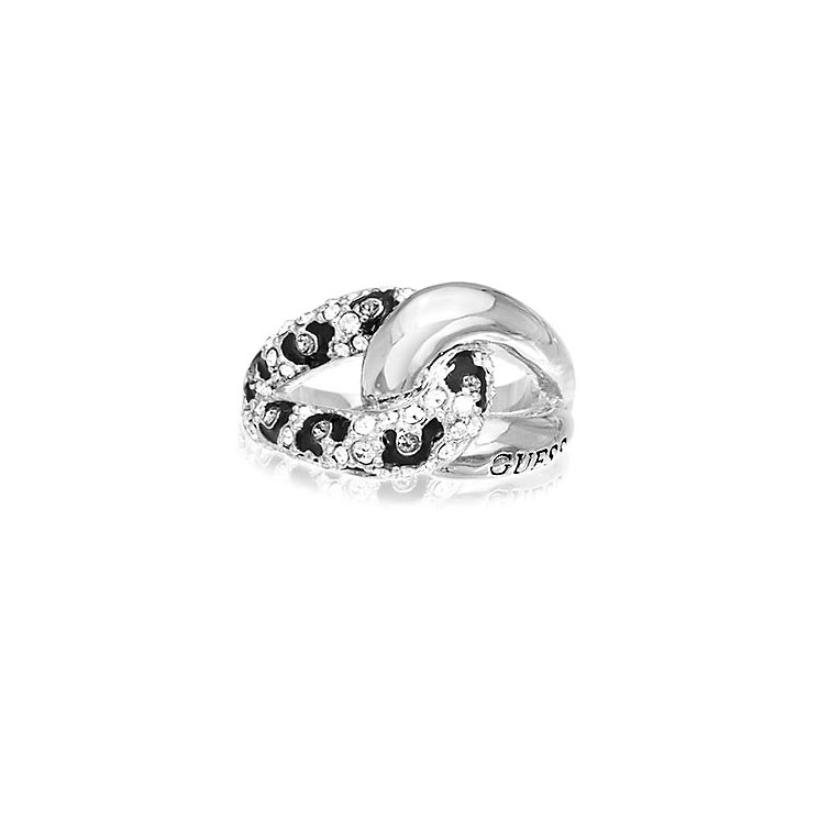 Guess Rhodium Plated Crystal Leopard Print Chain Ring Small - Product number 2337614