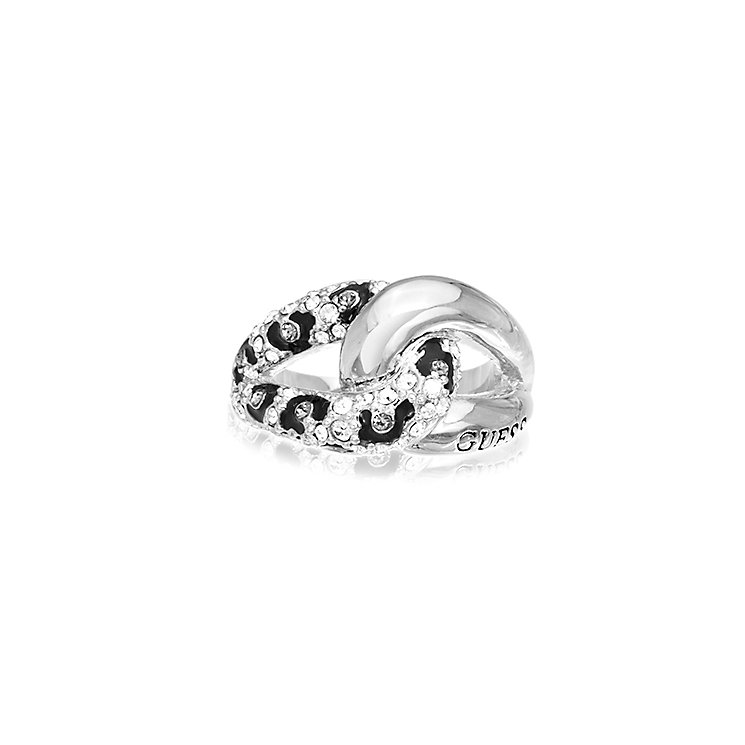 Guess Rhodium Plated Crystal Leopard Print Chain Ring Medium - Product number 2337622