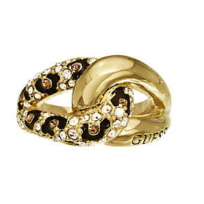 Guess Yellow Gold Plated Crystal Leopard Print Ring Medium - Product number 2337657