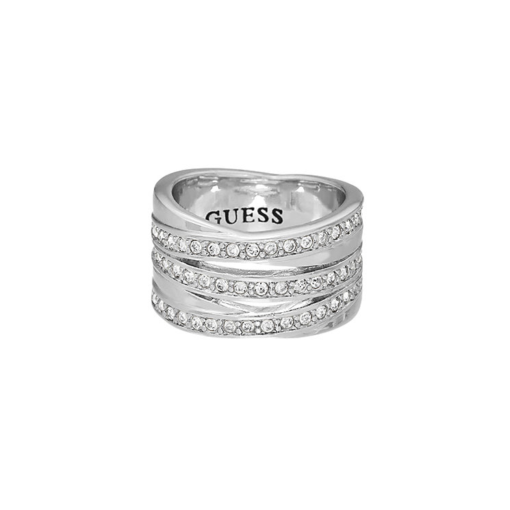 Guess Rhodium Plated Crystal Crossover Stacker Ring Small - Product number 2337681