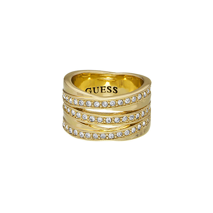 Guess Yellow Gold Plated Crystal Crossover Stack Ring Small - Product number 2337738
