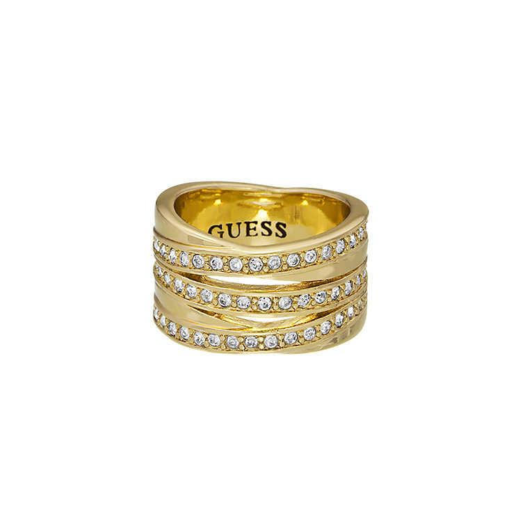 Guess Yellow Gold Plated Crystal Crossover Stack Ring Medium - Product number 2337754
