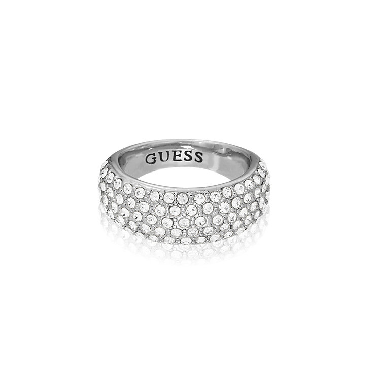 Guess Rhodium Plated Pave Crystal Tapered Ring Small - Product number 2337789