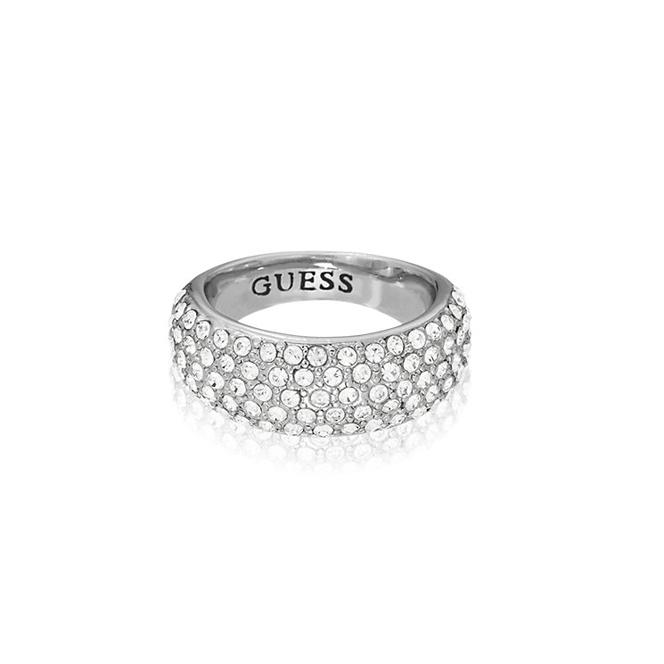 Guess Rhodium Plated Pave Crystal Tapered Ring Medium - Product number 2337797