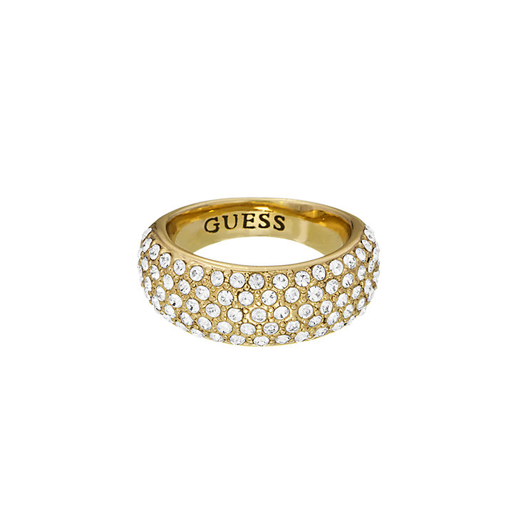 Guess Yellow Gold Plated Pave Crystal Tapered Ring Small - Product number 2337800