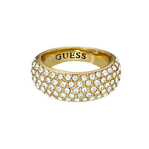 Guess Yellow Gold Plated Pave Crystal Tapered Ring Medium - Product number 2337819