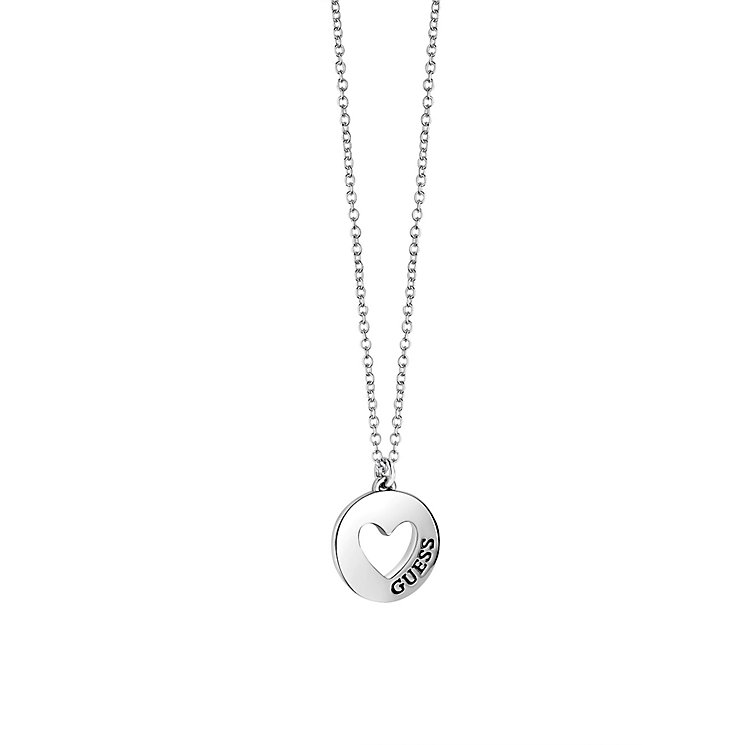Guess Rhodium Plated Round Disk Cut Away Heart Pendant - Product number 2337894
