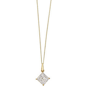 9ct Yellow Gold 7mm Square Cubic Zirconia Drop Pendant - Product number 2337908