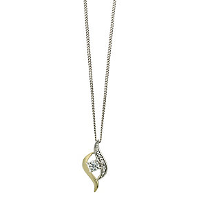 Silver & 9ct Gold Cubic Zirconia Teardrop Swirl Pendant - Product number 2337924