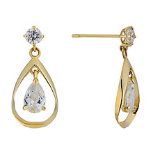 9ct Yellow Gold Double Cubic Zirconia Drop Earrings - Product number 2337932