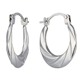 9ct White Gold Round Creole Earrings - Product number 2337975