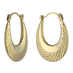 9ct Yellow Gold Ridged Creole Earrings - Product number 2338017