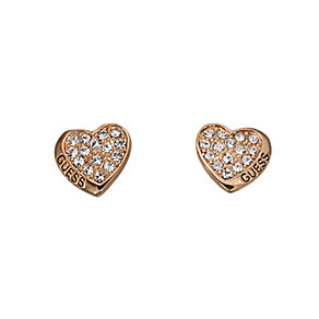 Guess Rose Gold Plated Pave Set Crystal Heart Stud Earrings - Product number 2338025
