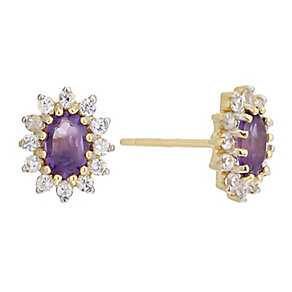 9ct Yellow Gold Cubic Zirconia & Amethyst Stud Earrings - Product number 2338041