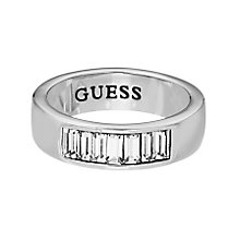 Guess Rhodium Plated Baguette Cut Clear Crystal Ring Medium - Product number 2338130