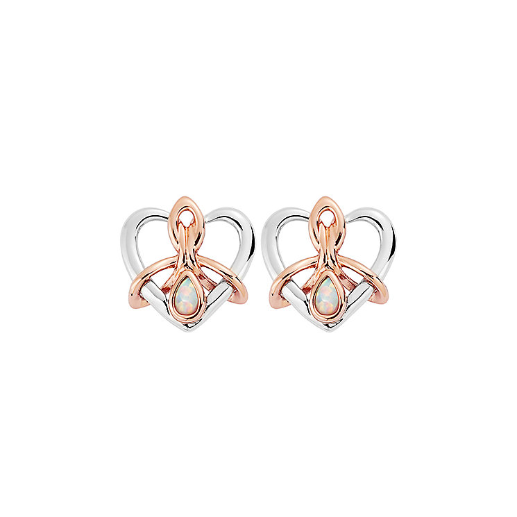 Clogau Silver & Rose Gold Opal Dwynwen Heart Stud Earrings - Product number 2338203
