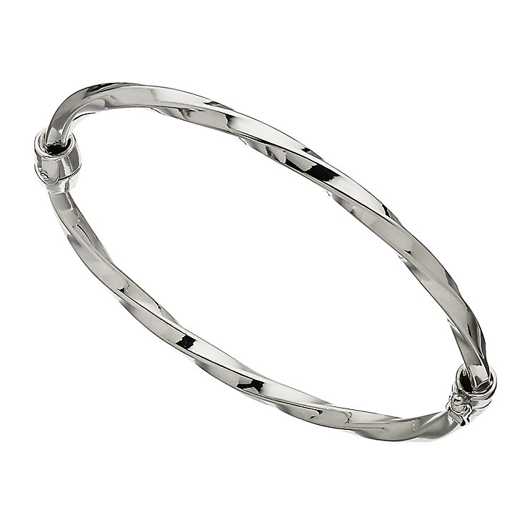Rhodium Plated Silver Hinged Bangle - Product number 2338661