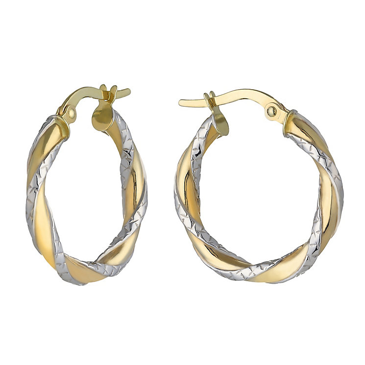 9ct Two Colour Gold Diamond Cut Twist Creole Earrings 15mm - Product number 2338696