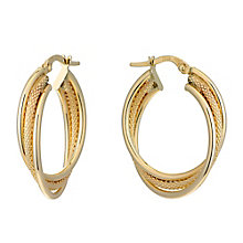 9ct Yellow Gold Triple Twist Hoop Creole Earrings - Product number 2338815