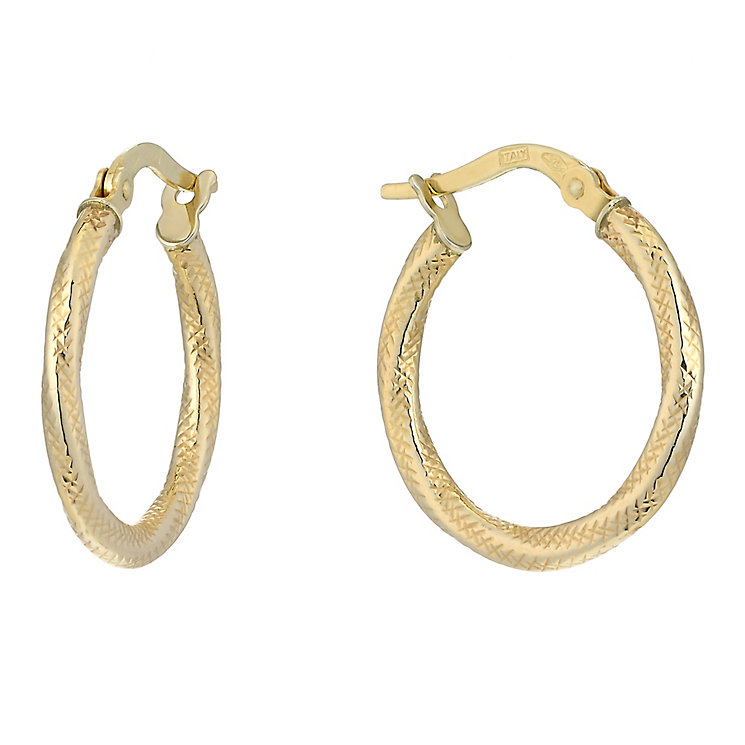 9ct Yellow Gold Fancy Groove Creole Earrings - Product number 2338823