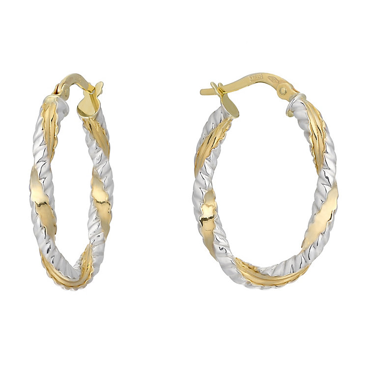 9ct Two Tone Gold Fancy Twist Creole Earrings - Product number 2338831