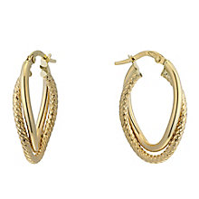 9ct Yellow Gold Double Twist Hoop Creole Earrings - Product number 2338858