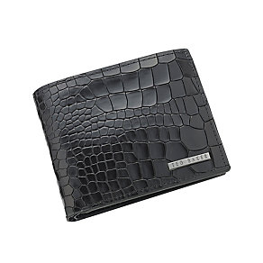 Ted Baker Craykay black mock croc leather bi-fold wallet - Product number 2339277
