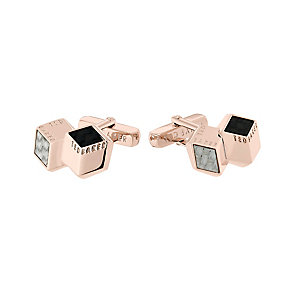 Ted Baker Carbcuf rose gold-plated carbon fibre cufflinks - Product number 2339358