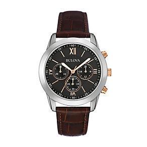 Bulova Men's Stainless Steel & Leather Strap Watch - Product number 2340348
