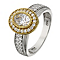 Silver & 9ct Yellow Gold Oval Cubic Zirconia Ring - Product number 2340526