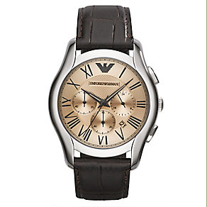 Emporio Armani Men's Champagne Face Leather Strap Watch - Product number 2341638