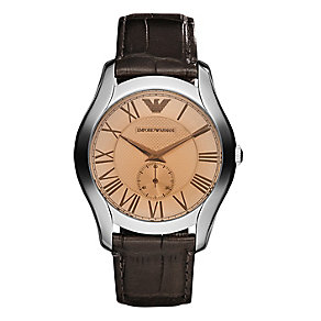 Emporio Armani Men's Brown Leather Strap Watch - Product number 2341670