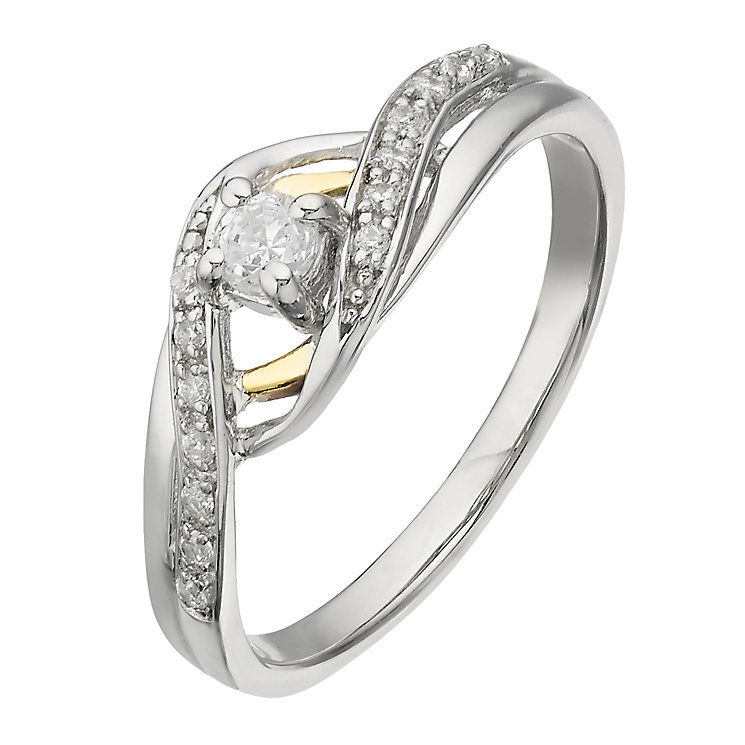 Silver & 9ct Gold Princess Cut Cubic Zirconia Solitaire Ring - Product number 2341727