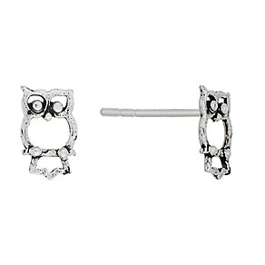Sterling Silver Owl Stud Earrings - Product number 2342367