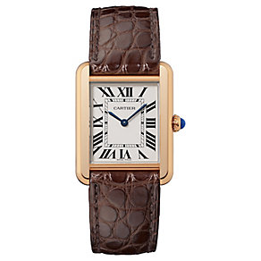 Cartier Tank Solo ladies' 18ct rose gold red strap watch - Product number 2342731