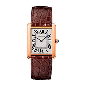 Cartier Tank ladies' 18ct pink gold leather strap watch - Product number 2342871