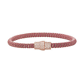 Rose gold-plated cubic zirconia & raspberry leather bracelet - Product number 2345587