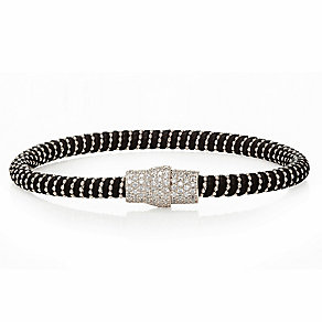 Sterling silver cubic zirconia & black leather bracelet - Product number 2345595