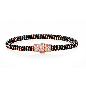 Rose gold-plated cubic zirconia & black leather bracelet - Product number 2345609