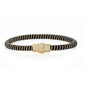 Gold-plated cubic zirconia & black leather bracelet - Product number 2345617