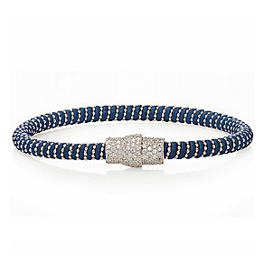 Sterling silver cubic zirconia & blue leather bracelet - Product number 2345633