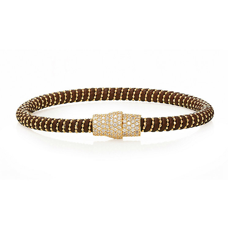 Gold-plated cubic zirconia brown leather bracelet - Product number 2345641
