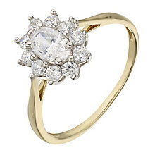 9ct Yellow Gold & Cubic Zirconia Flower Cluster Ring - Product number 2347229