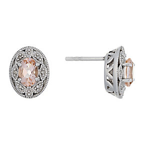 Sterling Silver Vintage Oval Morganite & Diamond Earrings - Product number 2349086